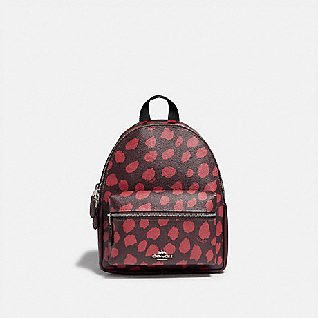 COACH MINI CHARLIE BACKPACK WITH DEER SPOT PRINT - RASPBERRY/SILVER - F39030