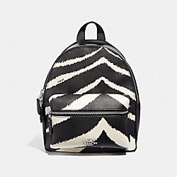 MINI CHARLIE BACKPACK WITH ZEBRA PRINT - BLACK CHALK/SILVER - COACH F39033