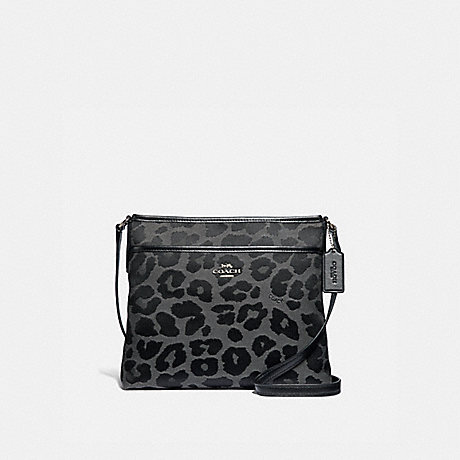 COACH FILE CROSSBODY WITH LEOPARD PRINT - GREY/SILVER - F39036