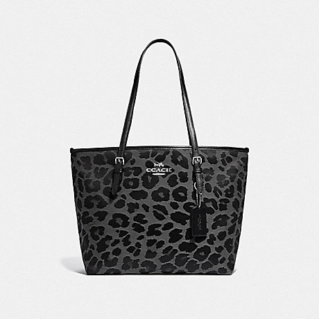 COACH ZIP TOP TOTE WITH LEOPARD PRINT - GREY/SILVER - F39037