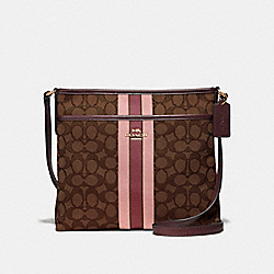 FILE CROSSBODY IN SIGNATURE JACQUARD WITH STRIPE - IM/BROWN MULTI - COACH F39041
