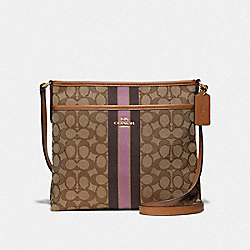 FILE CROSSBODY IN SIGNATURE JACQUARD WITH STRIPE - KHAKI MULTI /LIGHT GOLD - COACH F39041