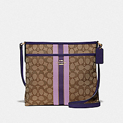 FILE CROSSBODY IN SIGNATURE JACQUARD WITH STRIPE - IM/PURPLE MULTI - COACH F39041