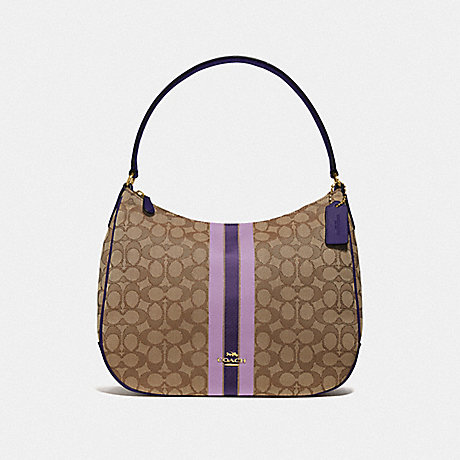 COACH ZIP SHOULDER BAG IN SIGNATURE JACQUARD WITH STRIPE - IM/PURPLE MULTI - F39042IMPUP