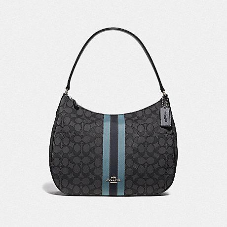 COACH ZIP SHOULDER BAG IN SIGNATURE JACQUARD WITH STRIPE - BLACK/MULTI/SILVER - F39042