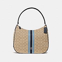 ZIP SHOULDER BAG IN SIGNATURE JACQUARD WITH STRIPE - KHAKI MULTI /SILVER - COACH F39042