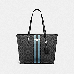 ZIP TOP TOTE IN SIGNATURE JACQUARD WITH STRIPE - BLACK/MULTI/SILVER - COACH F39043