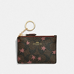 MINI SKINNY ID CASE IN SIGNATURE CANVAS WITH POP STAR PRINT - BROWN MULTI/LIGHT GOLD - COACH F39047
