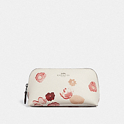 COSMETIC CASE 17 WITH HALFTONE FLORAL PRINT - CHALK/RED/BLACK ANTIQUE NICKEL - COACH F39057