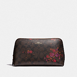 COSMETIC CASE 22 IN SIGNATURE CANVAS WITH FLORAL BUNDLE PRINT - BROWN/METALLIC CURRANT/LIGHT GOLD - COACH F39071