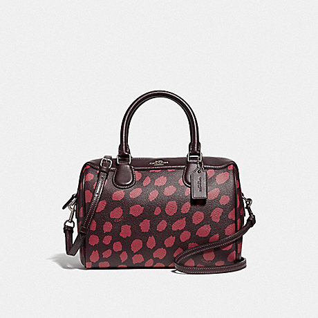 COACH MINI BENNETT SATCHEL WITH DEER SPOT PRINT - RASPBERRY/SILVER - F39072