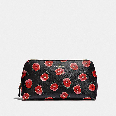COACH COSMETIC CASE 22 WITH POPPY PRINT - BLACK/MULTI/LIGHT GOLD - F39076