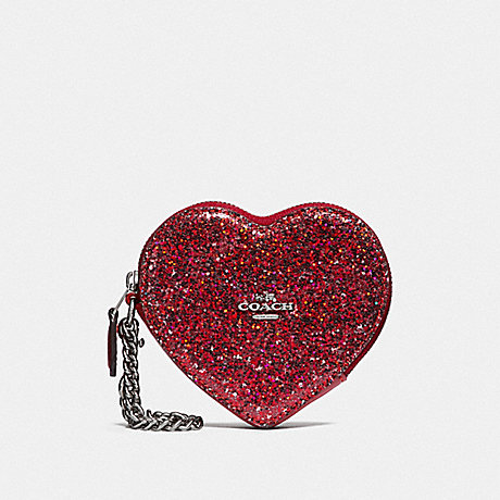 COACH HEART COIN CASE - RED/SILVER - F39078