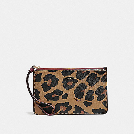 COACH SMALL WRISTLET WITH LEOPARD PRINT - NATURAL/LIGHT GOLD - F39079