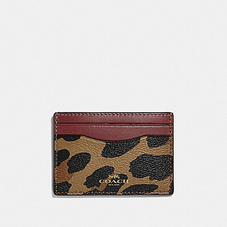 COACH CARD CASE WITH LEOPARD PRINT - NATURAL/LIGHT GOLD - F39080