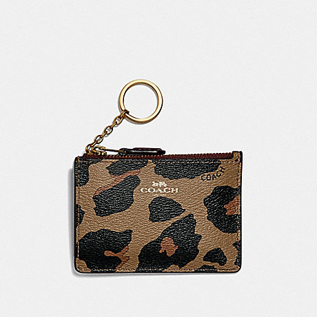 COACH MINI SKINNY ID CASE WITH LEOPARD PRINT - NATURAL/LIGHT GOLD - F39081