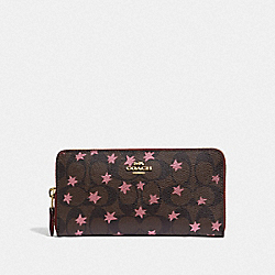 ACCORDION ZIP WALLET IN SIGNATURE CANVAS WITH POP STAR PRINT - BROWN MULTI/LIGHT GOLD - COACH F39085