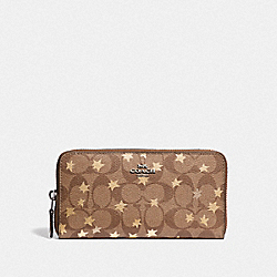 ACCORDION ZIP WALLET IN SIGNATURE CANVAS WITH POP STAR PRINT - KHAKI MULTI /SILVER - COACH F39085