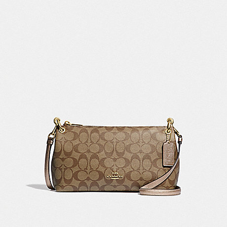 COACH CHARLEY CROSSBODY IN SIGNATURE CANVAS - KHAKI/ROSE GOLD/LIGHT GOLD - F39088
