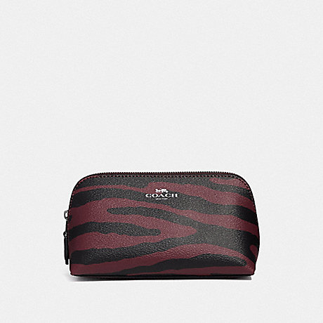 COACH COSMETIC CASE 17 WITH TIGER PRINT - DARK RED/BLACK ANTIQUE NICKEL - F39091