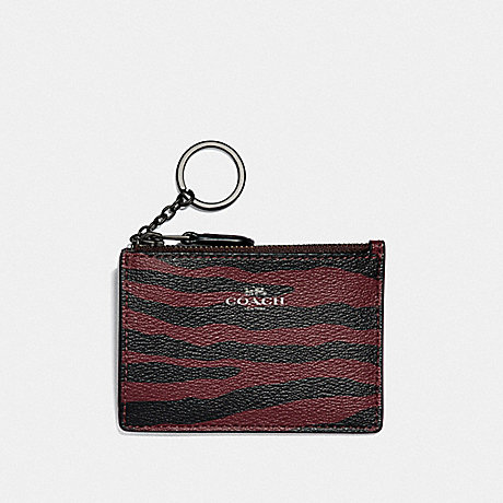 COACH MINI SKINNY ID CASE WITH TIGER PRINT - DARK RED/BLACK ANTIQUE NICKEL - F39092