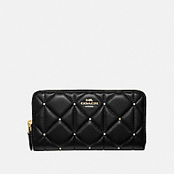 ACCORDION ZIP WALLET WITH STUDDED DIAMOND QUILTING - BLACK/LIGHT GOLD - COACH F39099