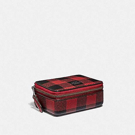 COACH TRIPLE PILL BOX WITH GINGHAM PRINT - RUBY MULTI/BLACK ANTIQUE NICKEL - F39107