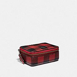TRIPLE PILL BOX WITH GINGHAM PRINT - RUBY MULTI/BLACK ANTIQUE NICKEL - COACH F39107