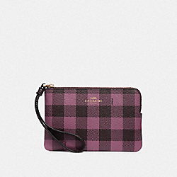 CORNER ZIP WRISTLET WITH GINGHAM PRINT - PRIMROSE/MULTI/LIGHT GOLD - COACH F39109