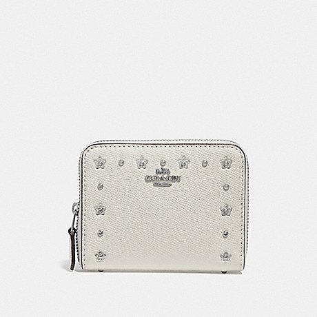 COACH SMALL ZIP AROUND WALLET WITH FLORAL RIVETS - CHALK/SILVER - F39125
