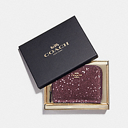 BOXED SMALL ZIP AROUND WALLET WITH HEART GLITTER - RASPBERRY/LIGHT GOLD - COACH F39129