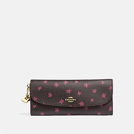 COACH BOXED SOFT WALLET WITH STAR PRINT AND CHARMS - BLACK/MULTI/LIGHT GOLD - F39133