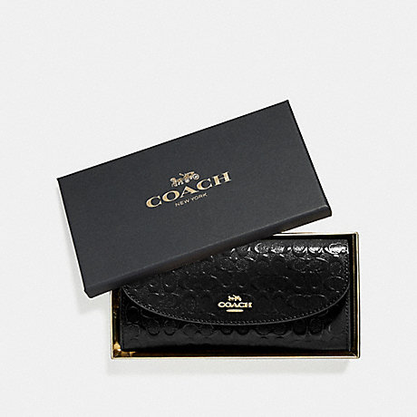 COACH BOXED SLIM ENVELOPE WALLET IN SIGNATURE LEATHER - BLACK/LIGHT GOLD - F39134