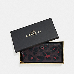BOXED SLIM ACCORDION ZIP WALLET WITH LEOPARD PRINT - OXBLOOD MULTI/BLACK ANTIQUE NICKEL - COACH F39135