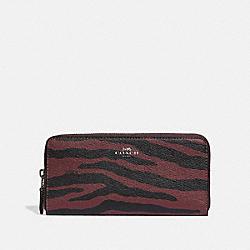 SLIM ACCORDION ZIP WALLET WITH TIGER PRINT - DARK RED/BLACK ANTIQUE NICKEL - COACH F39137