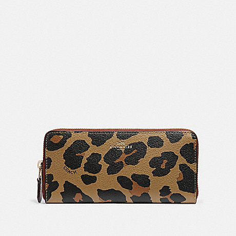 COACH SLIM ACCORDION ZIP WALLET WITH LEOPARD PRINT - NATURAL/LIGHT GOLD - F39138