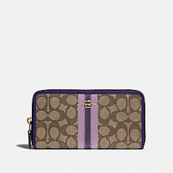 ACCORDION ZIP WALLET IN SIGNATURE JACQUARD WITH STRIPE - IM/PURPLE MULTI - COACH F39139IMPUP