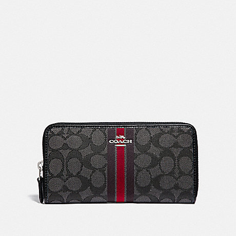 COACH ACCORDION ZIP WALLET IN SIGNATURE JACQUARD WITH STRIPE - SV/RED MULTI - F39139SVREM