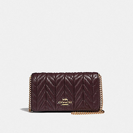 COACH CROSSBODY WITH QUILTING - OXBLOOD 1/LIGHT GOLD - F39142