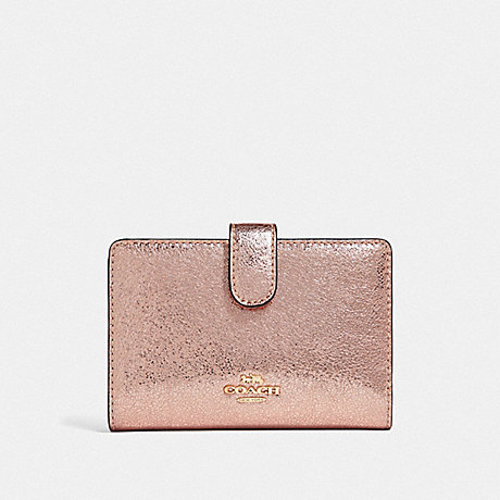 COACH MEDIUM CORNER ZIP WALLET - ROSE GOLD/LIGHT GOLD - F39144
