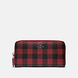 ACCORDION ZIP WALLET WITH GINGHAM PRINT - RUBY MULTI/BLACK ANTIQUE NICKEL - COACH F39145