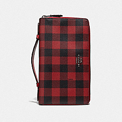 DOUBLE ZIP TRAVEL WALLET WITH GINGHAM PRINT - RUBY MULTI/BLACK ANTIQUE NICKEL - COACH F39148