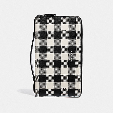 COACH DOUBLE ZIP TRAVEL WALLET WITH GINGHAM PRINT - BLACK/MULTI/SILVER - F39148