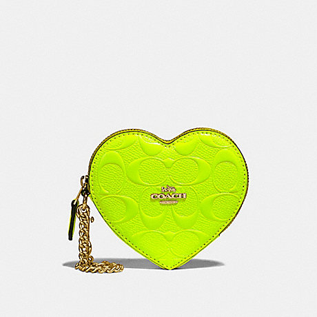 COACH HEART COIN CASE IN SIGNATURE LEATHER - NEON YELLOW/LIGHT GOLD - F39153