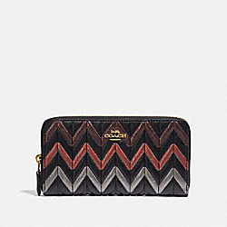 ACCORDION ZIP WALLET WITH QUILTING - BLACK/MULTI/LIGHT GOLD - COACH F39163