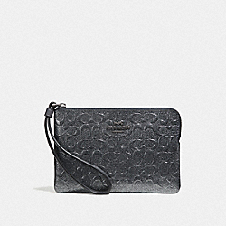 CORNER ZIP WRISTLET IN SIGNATURE LEATHER - CHARCOAL/BLACK ANTIQUE NICKEL - COACH F39168