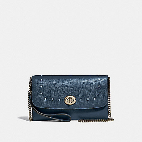 COACH CHAIN CROSSBODY WITH LACQUER RIVETS - DENIM/LIGHT GOLD - F39175