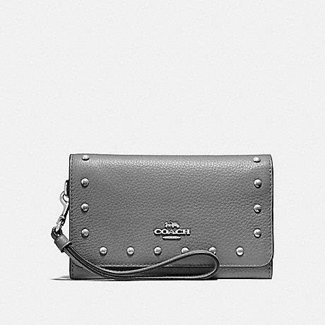 COACH FLAP PHONE WALLET WITH LACQUER RIVETS - HEATHER GREY/SILVER - F39180