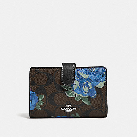 COACH MEDIUM CORNER ZIP WALLET IN SIGNATURE CANVAS WITH JUMBO FLORAL PRINT - BROWN BLACK/MULTI/SILVER - F39190
