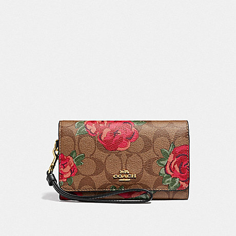 COACH FLAP PHONE WALLET IN SIGNATURE CANVAS WITH JUMBO FLORAL PRINT - KHAKI/OXBLOOD MULTI/LIGHT GOLD - F39191